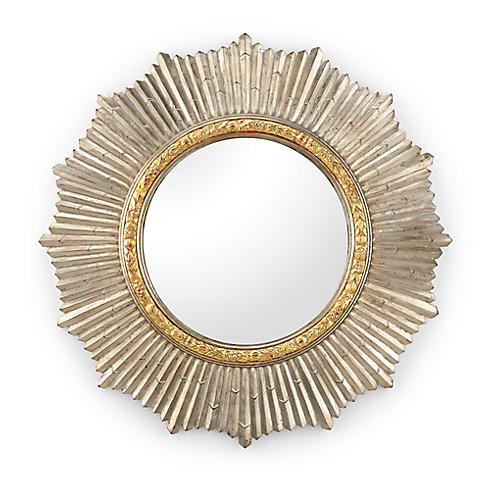 Sun Shield Wall Mirror, Silver/Gold