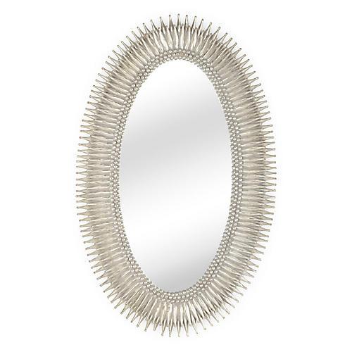 Lucius Oversize Mirror, Antiqued Silver