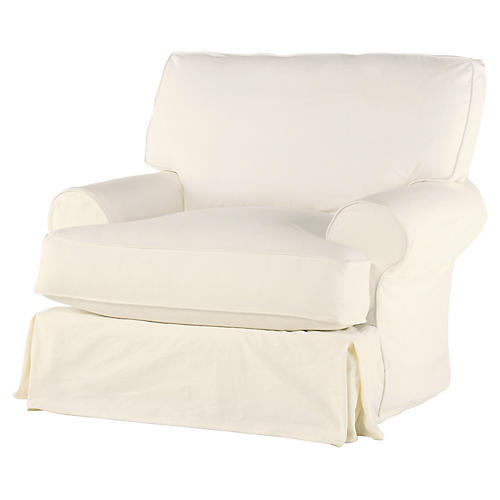 Lauren Swivel Chair, Antiqued White