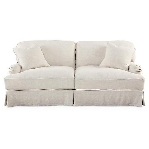 "Caroline 83"" Skirted Sofa, Linen"