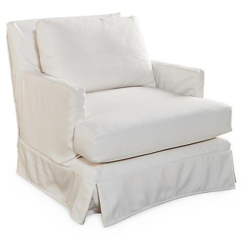 Pamela Swivel Club Chair, White