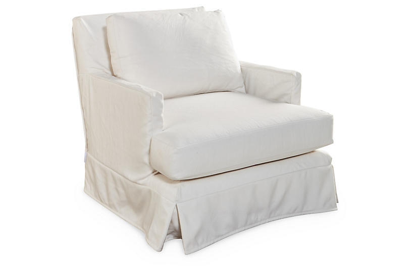 Pamela Swivel Club Chair, White