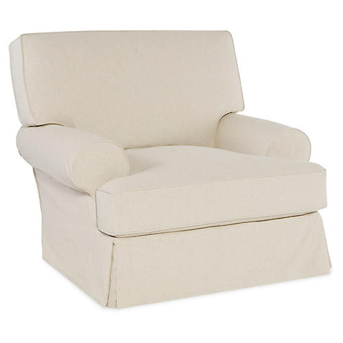 Lauren Club Chair, Ecru Cotton