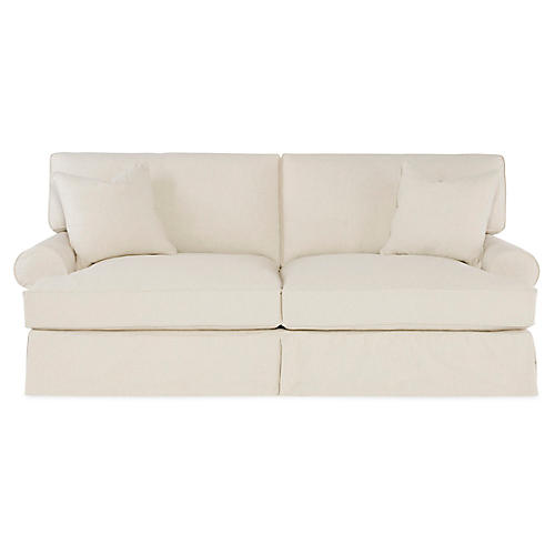 "Lauren 89"" Sleeper Sofa, Ecru Cotton"