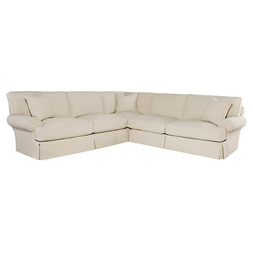 Lauren 3-Pc Sectional, Ecru Cotton