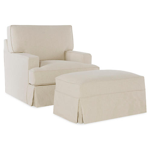 Nelson Swivel Chair & Ottoman, Ecru