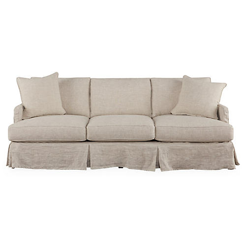 "Pamela 85"" Slipcovered Sofa, Oatmeal"