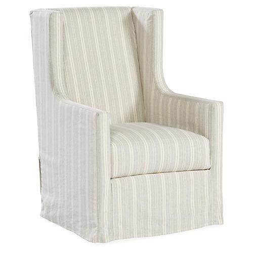 Nicole Swivel Chair, Gray/White