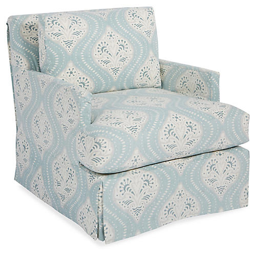 Pamela Swivel Club Chair, Mist