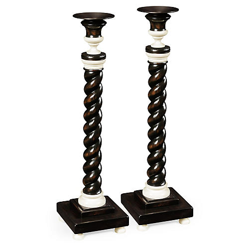 S/2 Harley Candlesticks, Black/White