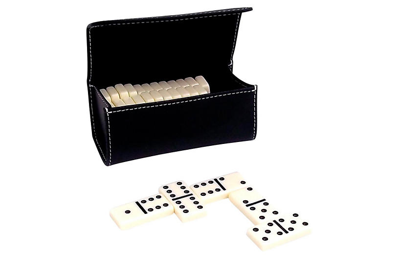 Leather Domino Set and Case, Black