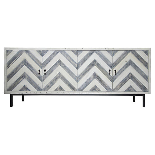 "Chevron 80"" Sideboard, Blue/Natural"