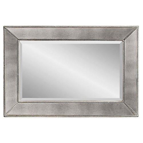 "Visby 36""x24"" Wall Mirror, Antiqued Silver"