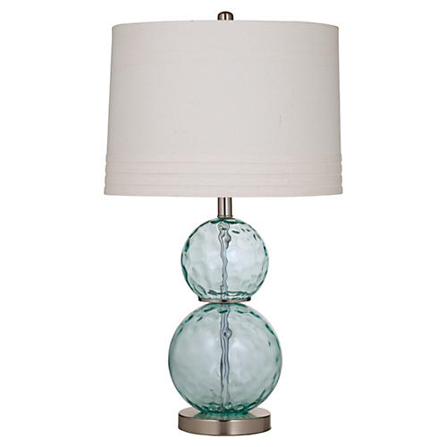 Glass Table Lamp, Sea Blue