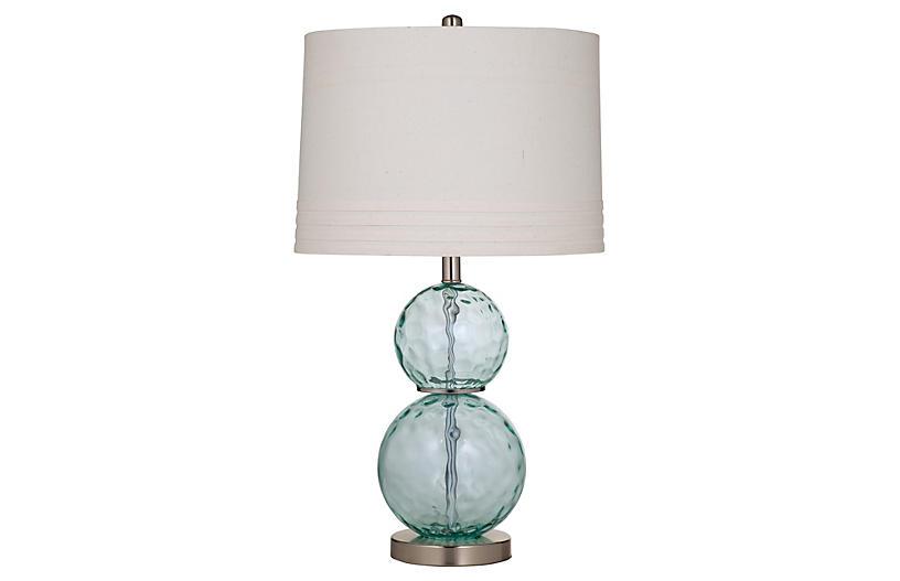 Glass Table Lamp, Sea Blue
