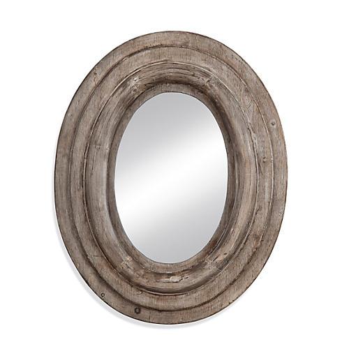 Logan Oversize Mirror, Weathered Wood