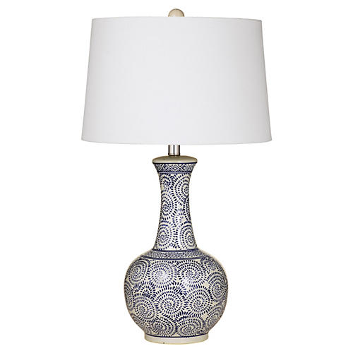 Kate Table Lamp, Royal/White