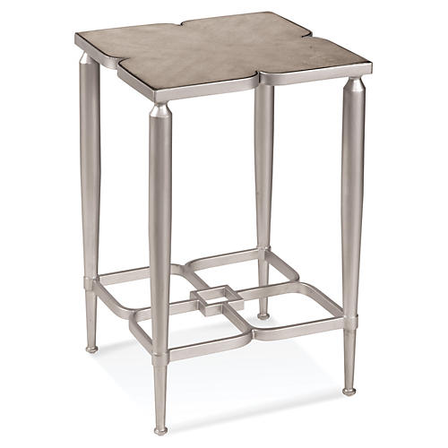 Melanie Marble Side Table, Silver
