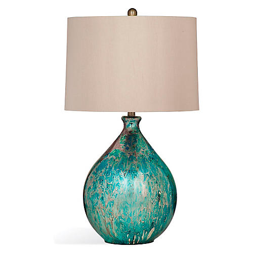 Mira Mercury Glass Table Lamp, Blue