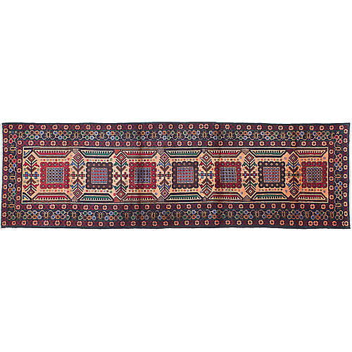 """2'11""""x9'10"""" Rizbaft Hand-Knotted Runner, Red"""