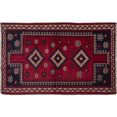 "4'10""x7'8"" Shiraz Hand-Knotted Rug, Burgundy/Navy"