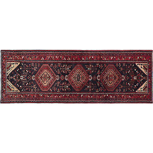 "3'5""x10'3"" Hamadan Flat-Weave Runner, Black/Red"