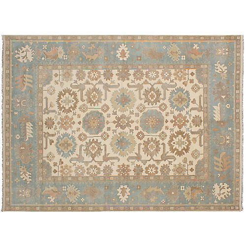 "9'6""x13'7"" Oushak Hand-Knotted Rug, Cream"