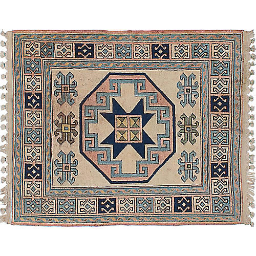 "3'11""x4'9"" Oushak Hand-Knotted Rug, Cream/Blue"