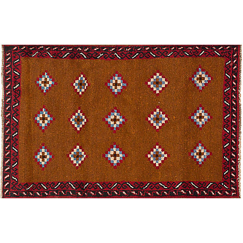 "2'10""x4'7"" Baluch Hand-Knotted Rug, Brown"