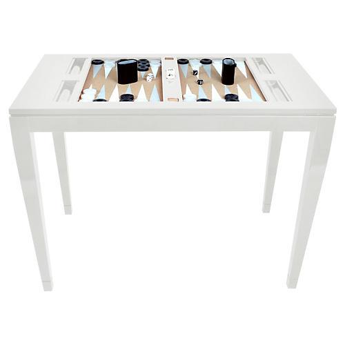 Backgammon Game Table, White