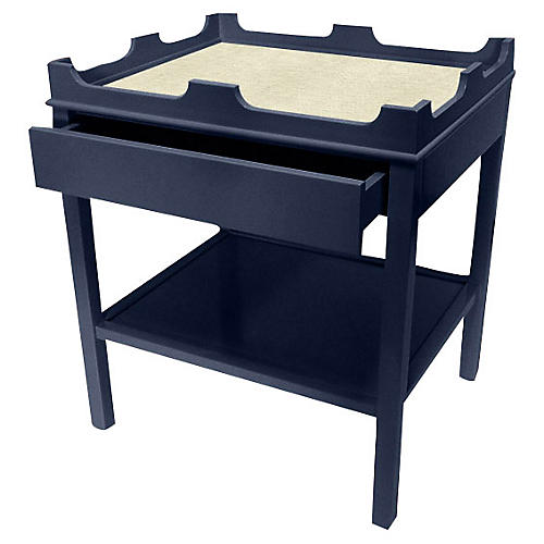 Edgartown Nightstand, Navy/White