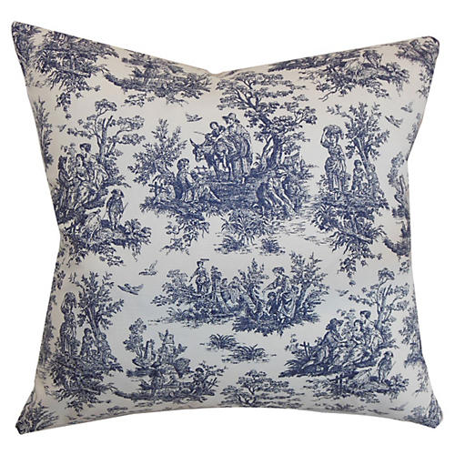 Lalibella Toile Pillow, Blue