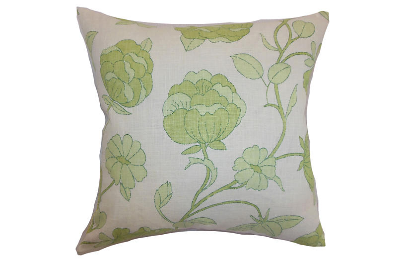 Lalomalava Floral Pillow - Green - 18x18