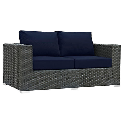 "Hayden 63"" Loveseat, Navy"
