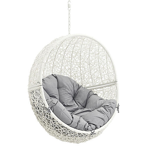 Hide Outdoor Porch Swing, White/Gray