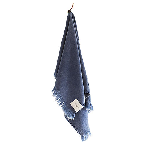 Stonewashed Cotton Hand Towel, Indigo