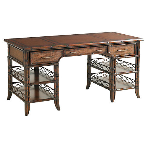 Malibu Leather-Top Rattan Desk, Tobacco