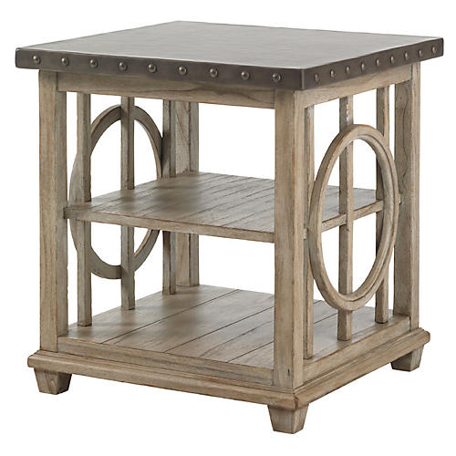 "Wyatt 24"" Square Side Table, Driftwood"