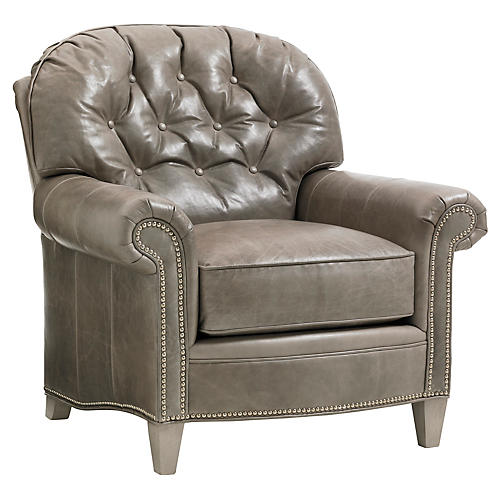 Bayville Tufted Club Chair, Gray Leather
