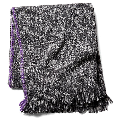 Munay Alpaca Blend Throw, Plum/Black