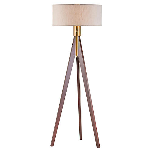 Brooke Tripod Floor Lamp, Wood/Brass