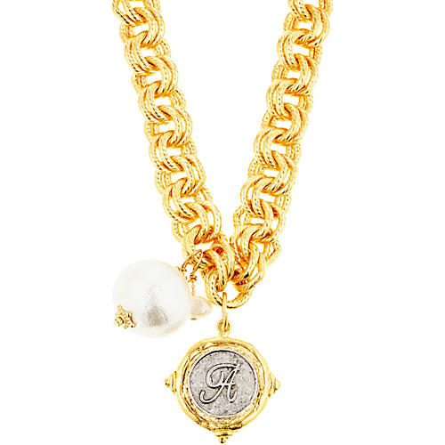 Gold Link Initial Necklace w/ Pearl