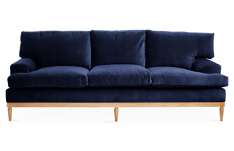 Sutton Sofa, Navy Velvet
