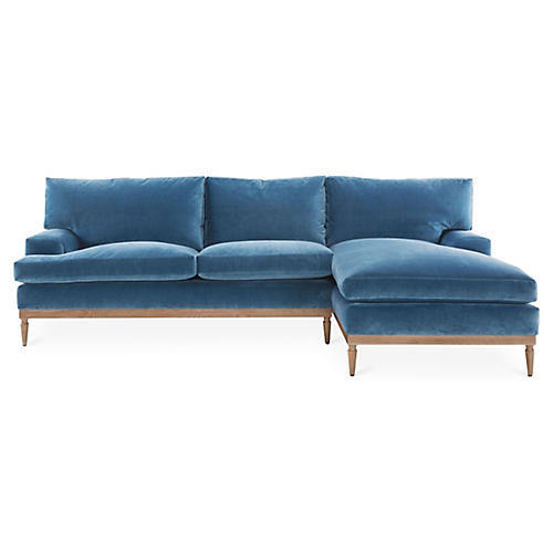 Sutton Right-Facing Sectional, Harbor Blue Velvet