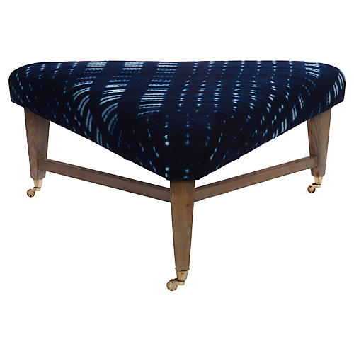 Spencer Cocktail Ottoman, Indigo Mudcloth