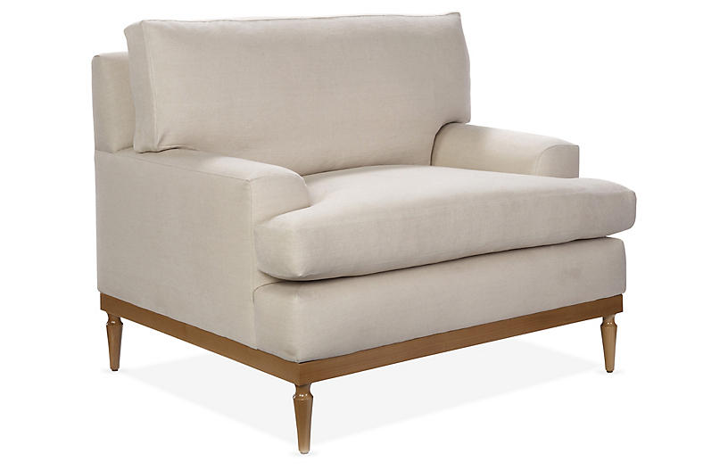 Sutton Club Chair, Bisque Linen