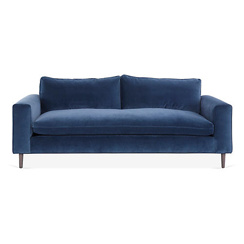 Rumsey Sofa, Harbor Blue Velvet