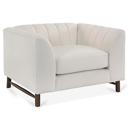 Alden Club Chair, White Linen