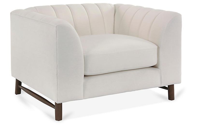 Alden Club Chair, White Linen