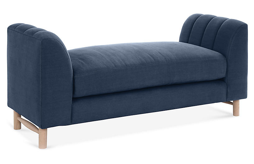Alden Bench, Navy Linen